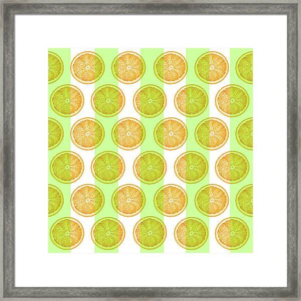 Orange Slice Pattern 2 - Tropical Pattern - Tropical Print - Lemon - Orange - Fruit - Tangerine Framed Print