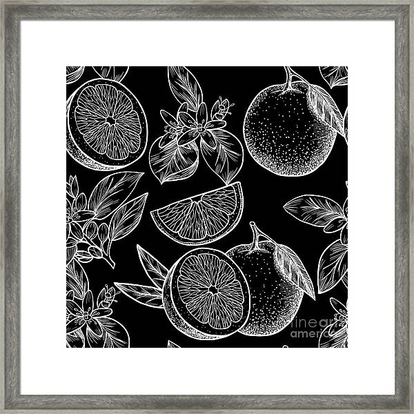 Oranges  And Flowers. Vector Seamless Framed Print