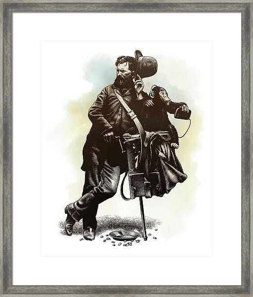 Framed Print featuring the drawing Organ Grinder by Clint Hansen
