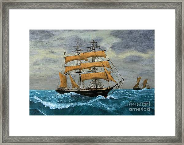 Original Artwork, Clipper Ships At Sea Framed Print