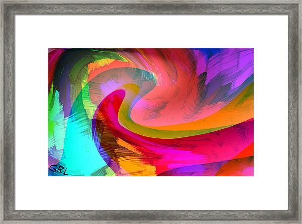 Framed Print featuring the painting Original Fine Art Digital Abstract Warp10b by G Linsenmayer