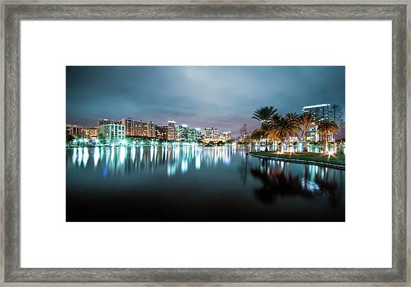 Orlando Night Cityscape Framed Print
