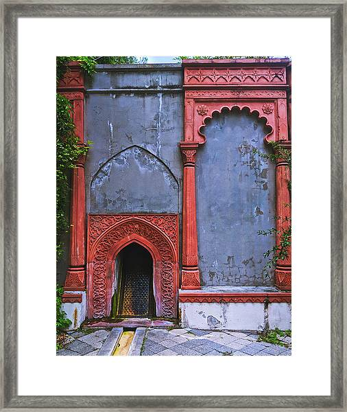 Ornate Red Wall Framed Print