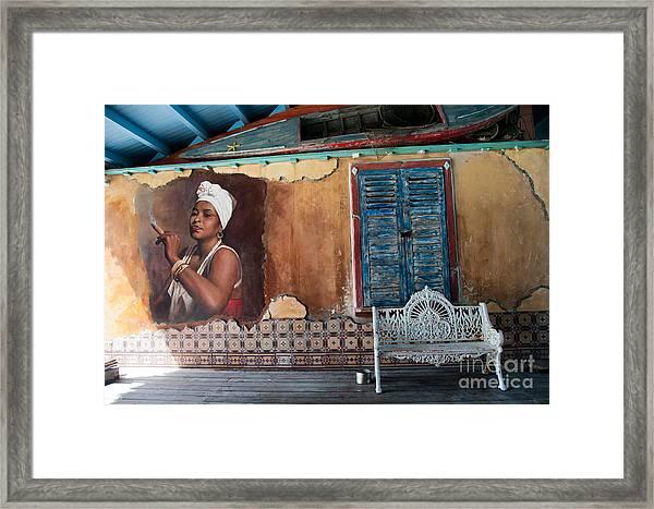 Ornate White Wrought Iron Bench Framed Print