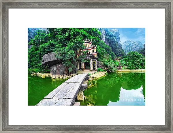 Outdoor Park Landscape With Lake And Framed Print