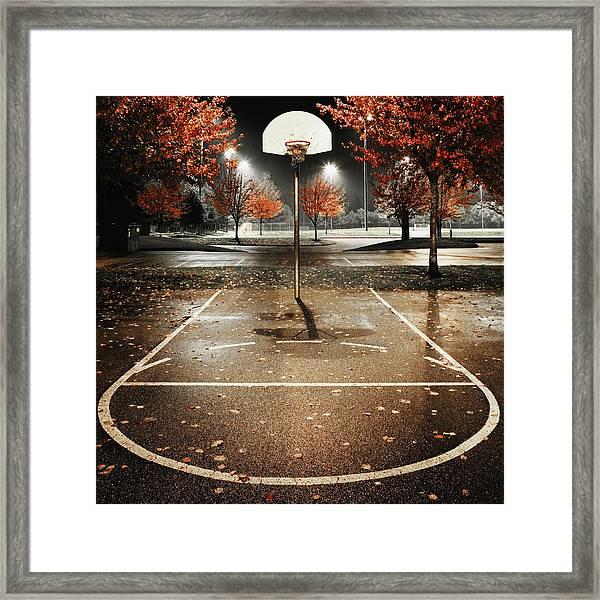 Outdoors Basketball Court, Night Framed Print