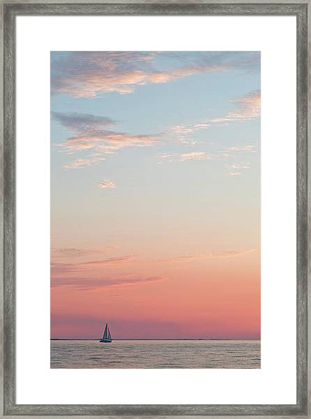 Outer Banks Sailboat Sunset Framed Print