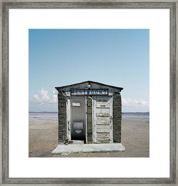 Outhouse On Beach, Close-up Framed Print by Ed Freeman