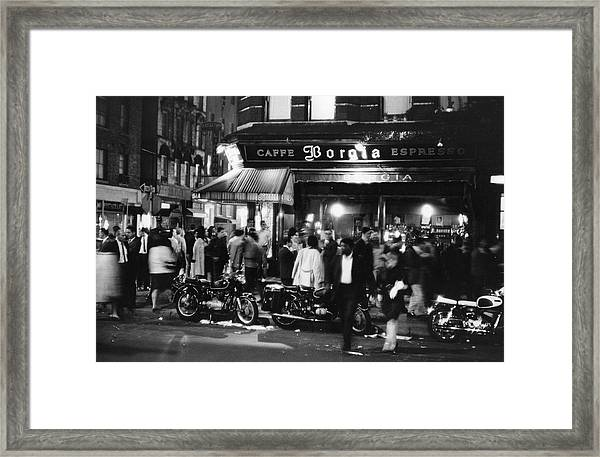 Outside Caffe Borgia Framed Print