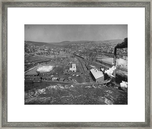 Overall View Of Coal Mining Town Looking Framed Print