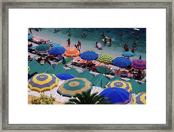 Overhead Of Umbrellas At Private Framed Print