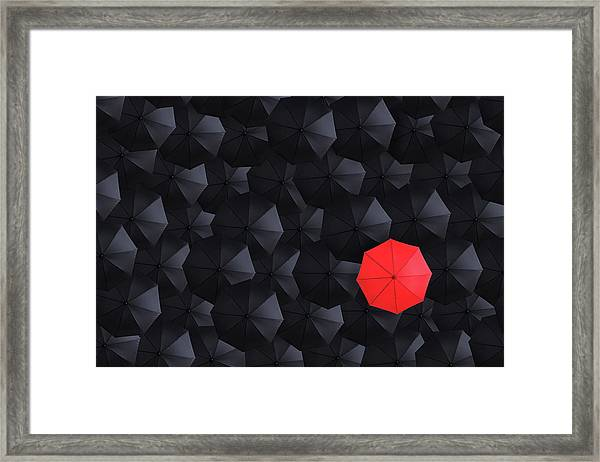 Overhead View Of Many Umbrellas Framed Print