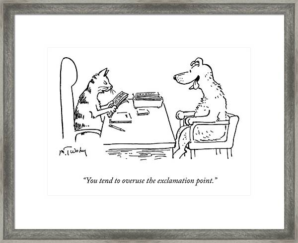 Overuse Of The Exclamation Point Framed Print