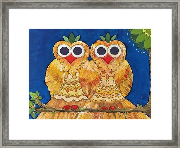 Owls On A Branch Framed Print
