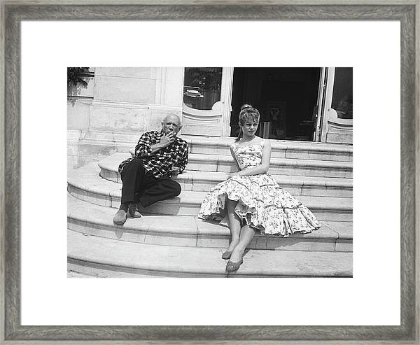 Pablo Picasso With Brigitte Bardot Framed Print