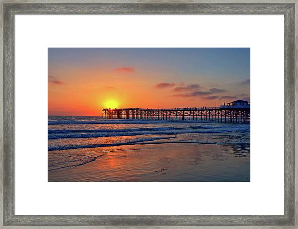 Pacific Beach Pier Sunset Framed Print