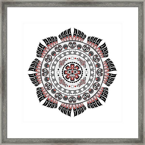 Pacific Northwest Native American Art Mandala Framed Print