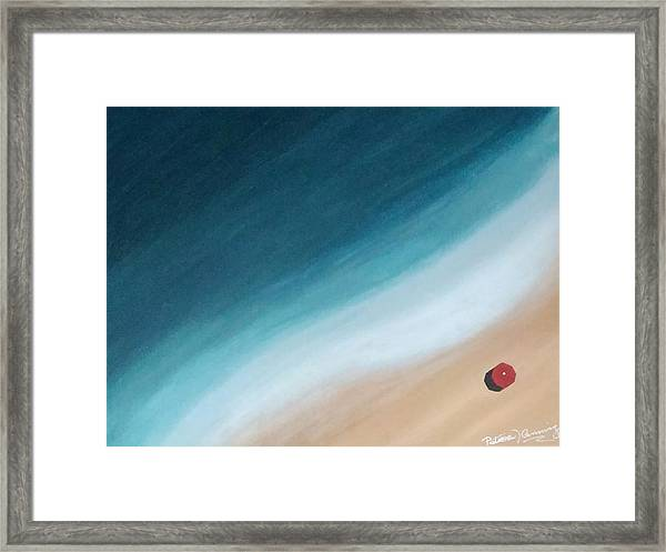Pacific Ocean And Red Umbrella Framed Print