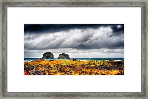 Framed Print featuring the photograph Pacific Storm  by Dee Browning