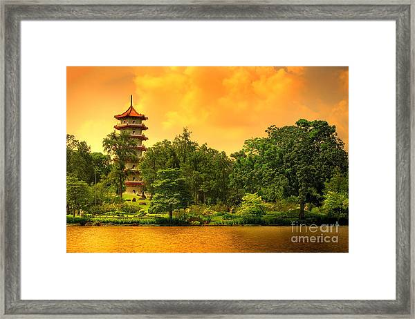 Pagoda Of The Chinese Gardens In Framed Print
