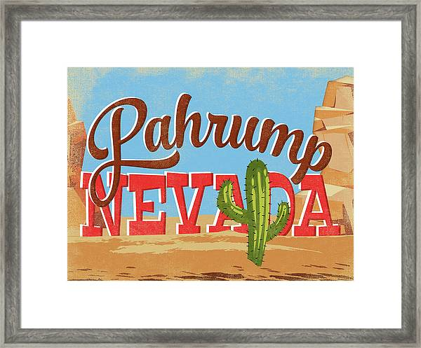Pahrump Nevada Cartoon Desert Framed Print