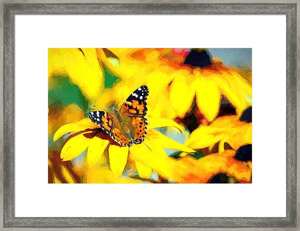 Painted Lady Butterfly Van Gogh Framed Print