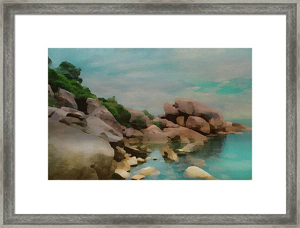Painted Rocks At Full Tide Framed Print