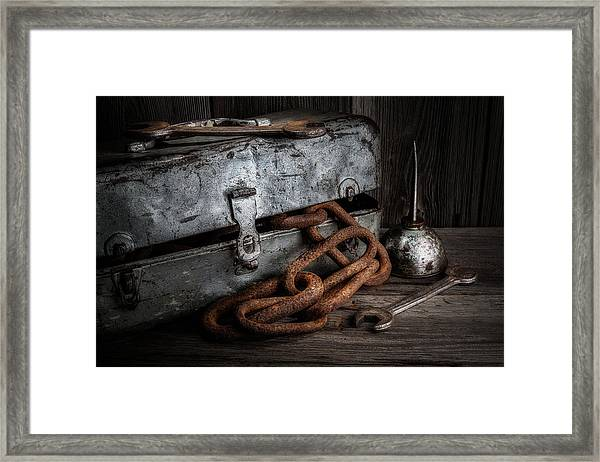 Painted Toolbox And Chain Framed Print