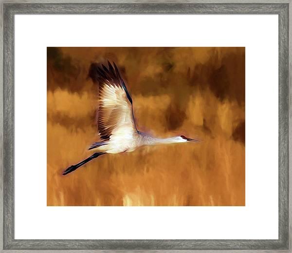 Painterly Crane Framed Print