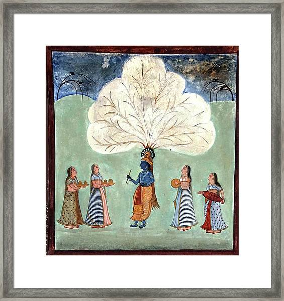 Painting Fresco Of Krishna In The Women's Zenana Framed Print