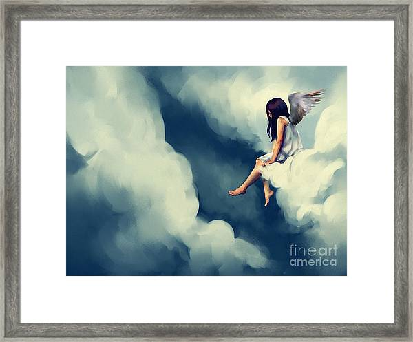 Painting Of Beautiful Angel Sitting On Framed Print