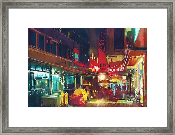 Painting Of Colorful Building And City Framed Print