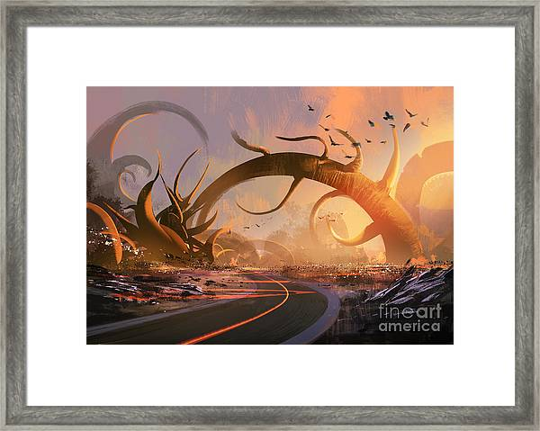 Painting Of Fantasy Landscape With A Framed Print