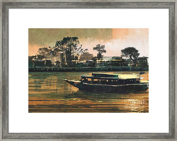 Painting Of Ferry Carries Passengers On Framed Print