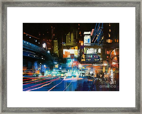 Painting Of Modern Urban City At Framed Print