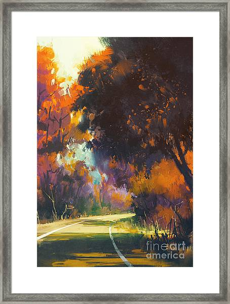 Painting Of Road In Autumn Framed Print