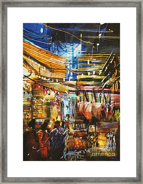 Painting Showing Variegated Colors Of Framed Print by Tithi Luadthong