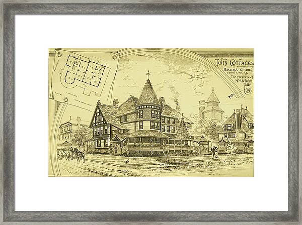 Pair Of Twin Cottages, Hastings Square, Spring Lake, Nj Framed Print