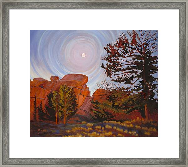 Pale Moon Over Vedauwoo Framed Print