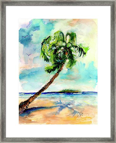 Palm Tree And Beach Watercolor Framed Print by Ginette Callaway