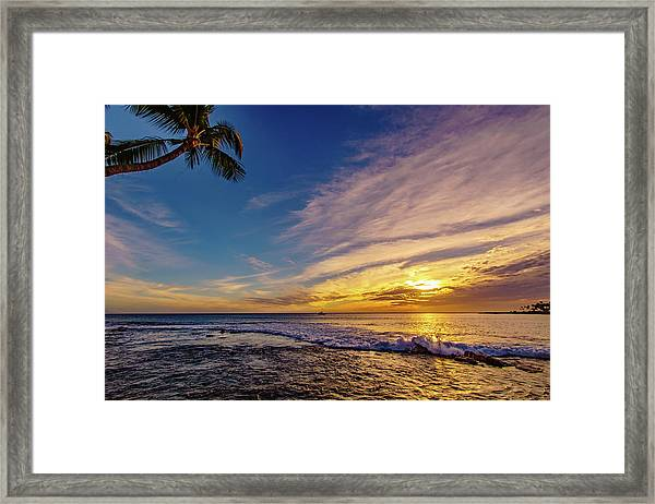 Palm Wave Sunset Framed Print