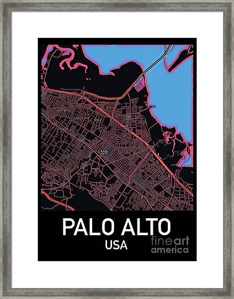 Palo Alto City Map Framed Print