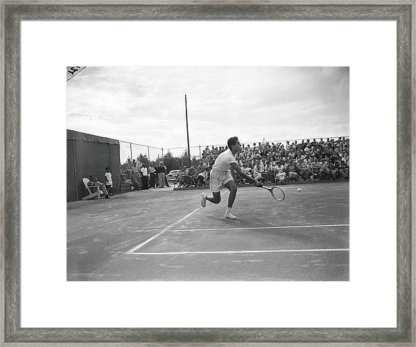 Pancho Gonzales On The Court Framed Print