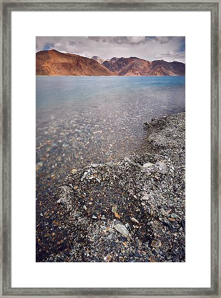 Framed Print featuring the photograph Pangong Tso by Whitney Goodey