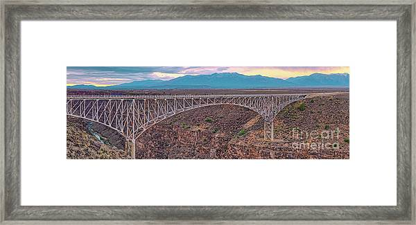 Panorama Of The Rio Grande Del Norte Gorge Bridge And Sangre De Cristo Mountains - Taos New Mexico Framed Print