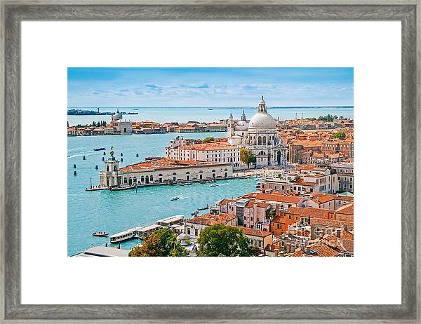 Panoramic Aerial Cityscape Of Venice Framed Print