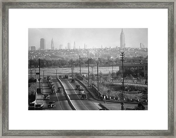Panoramic Of New York City Skyline Seen Framed Print