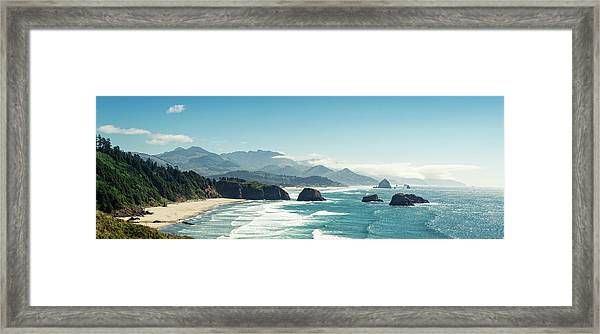 Panoramic Shot Of Cannon Beach, Oregon Framed Print