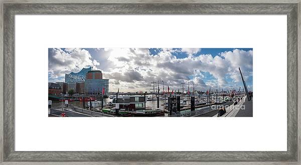 Panoramic View Of Hamburg Framed Print