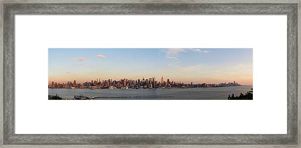 Panoramic View Of Manhattan At Sunset Framed Print